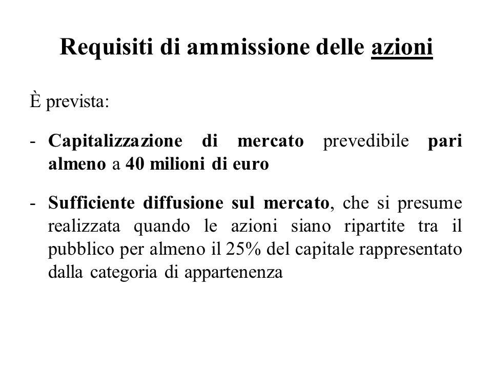 Requisiti di ammissione delle azioni È prevista: -Capitalizzazione di mercato prevedibile pari almeno a 40 milioni di euro -Sufficiente diffusione sul