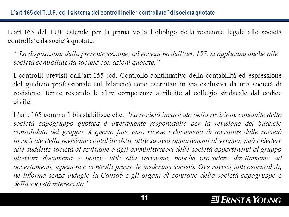 11 Lart.165 del TUF estende per la prima volta lobbligo della revisione legale alle società controllate da società quotate: Le disposizioni della pres