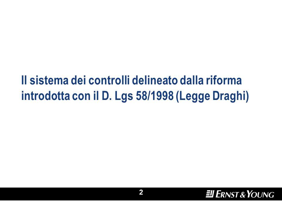 2 Il sistema dei controlli delineato dalla riforma introdotta con il D. Lgs 58/1998 (Legge Draghi)