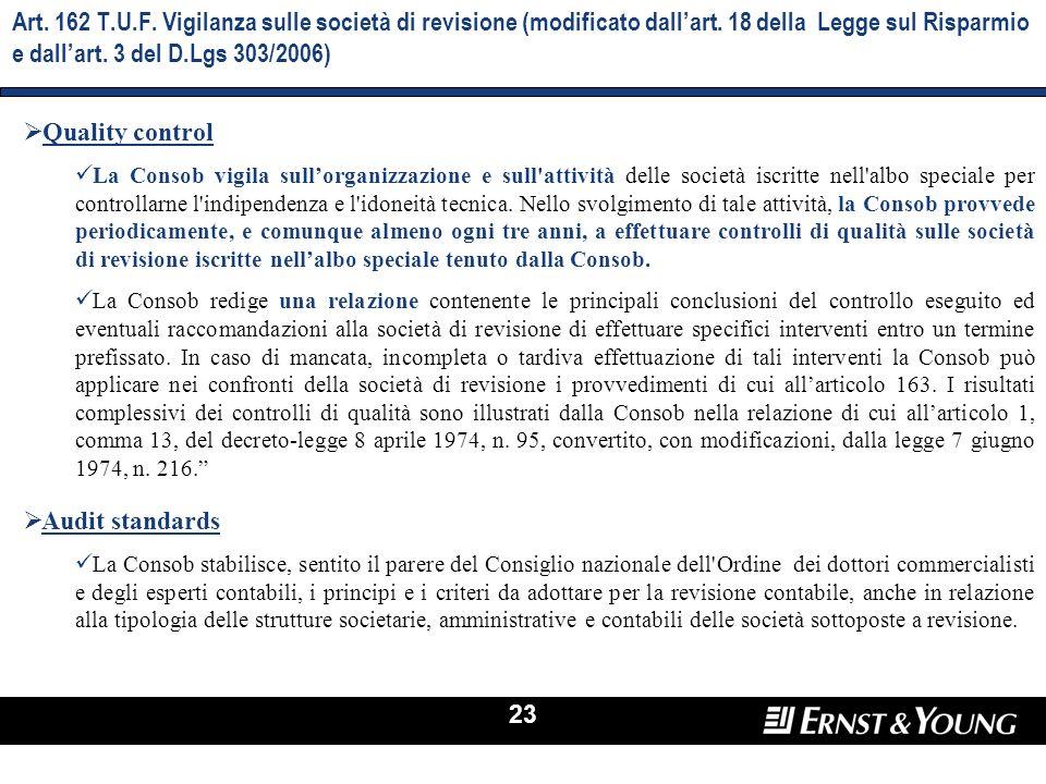 23 Art. 162 T.U.F. Vigilanza sulle società di revisione (modificato dallart. 18 della Legge sul Risparmio e dallart. 3 del D.Lgs 303/2006) Quality con
