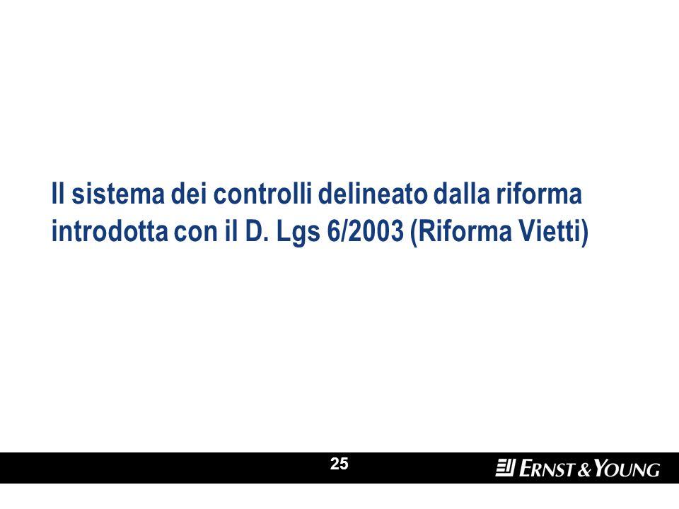 25 Il sistema dei controlli delineato dalla riforma introdotta con il D. Lgs 6/2003 (Riforma Vietti)