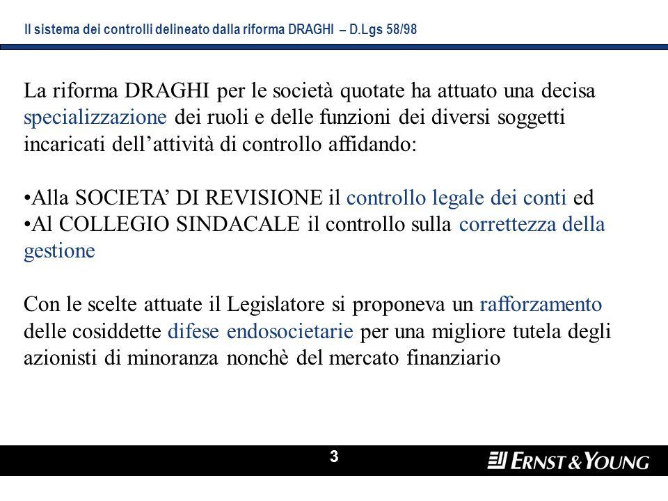 3 Il sistema dei controlli delineato dalla riforma DRAGHI – D.Lgs 58/98 La riforma DRAGHI per le società quotate ha attuato una decisa specializzazion