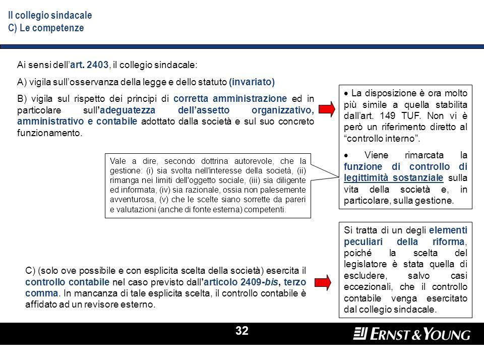 32 Il collegio sindacale C) Le competenze Ai sensi dellart. 2403, il collegio sindacale: A) vigila sullosservanza della legge e dello statuto (invaria
