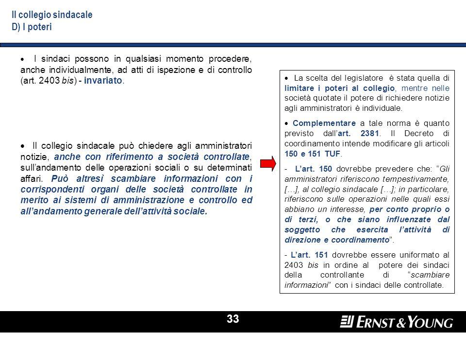 33 I sindaci possono in qualsiasi momento procedere, anche individualmente, ad atti di ispezione e di controllo (art. 2403 bis) - invariato. Il colleg