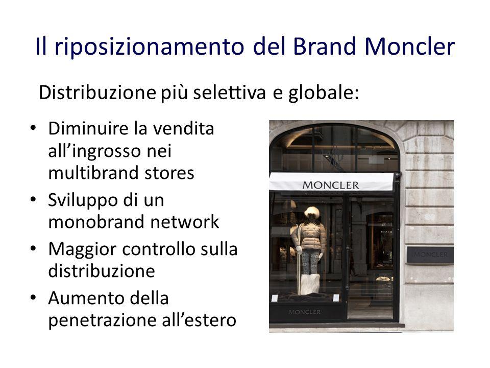 Il riposizionamento del Brand Moncler Diminuire la vendita allingrosso nei multibrand stores Sviluppo di un monobrand network Maggior controllo sulla distribuzione Aumento della penetrazione allestero Distribuzione più selettiva e globale: