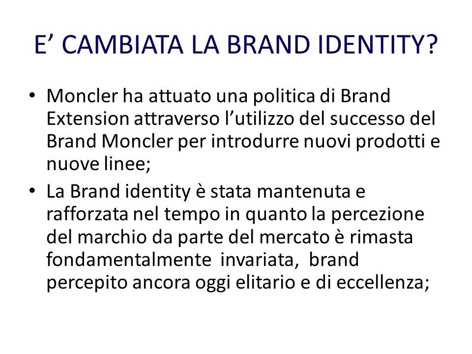 E CAMBIATA LA BRAND IDENTITY? Moncler ha attuato una politica di Brand Extension attraverso lutilizzo del successo del Brand Moncler per introdurre nu
