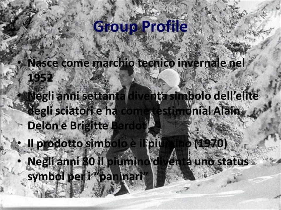Group Profile Nasce come marchio tecnico invernale nel 1952 Negli anni settanta diventa simbolo dellelite degli sciatori e ha come testimonial Alain Delon e Brigitte Bardot Il prodotto simbolo è il piumino (1970) Negli anni 80 il piumino diventa uno status symbol per i paninari