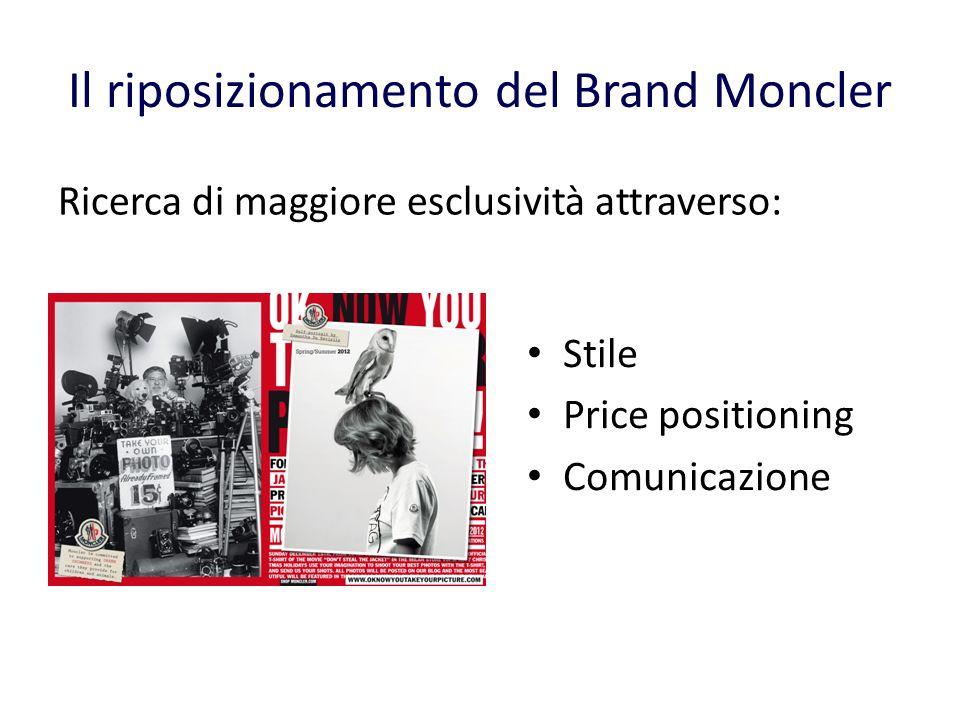 Il riposizionamento del Brand Moncler Stile Price positioning Comunicazione Ricerca di maggiore esclusività attraverso: