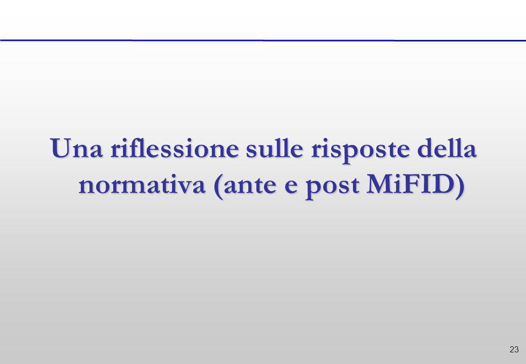 23 Una riflessione sulle risposte della normativa (ante e post MiFID)