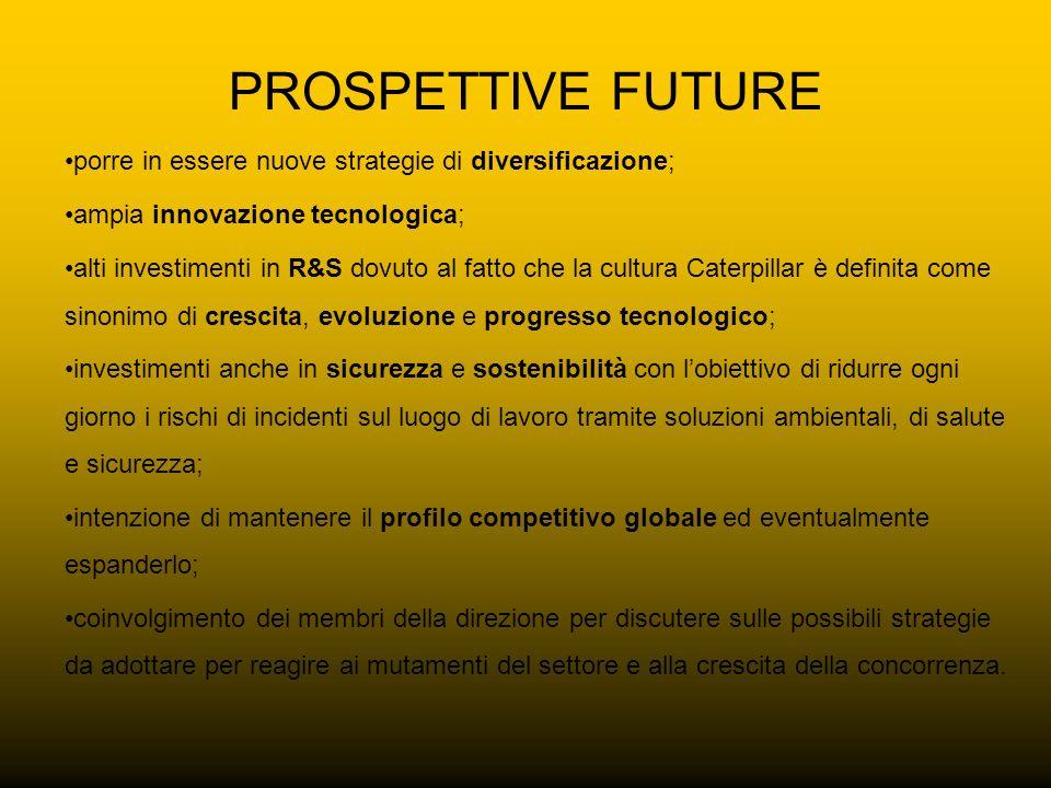 PROSPETTIVE FUTURE porre in essere nuove strategie di diversificazione; ampia innovazione tecnologica; alti investimenti in R&S dovuto al fatto che la