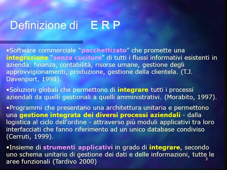 3 Software commerciale pacchettizato che promette una integrazione senza cuciture di tutti i flussi informativi esistenti in azienda: finanza, contabi