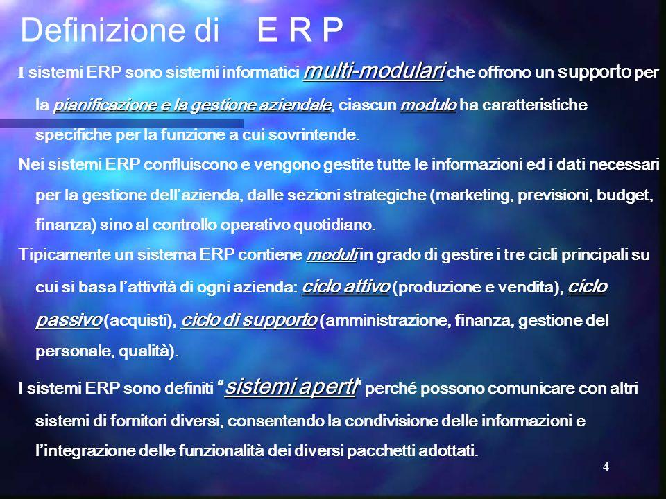 4 multi-modulari pianificazione e la gestione aziendalemodulo I sistemi ERP sono sistemi informatici multi-modulari che offrono un supporto per la pia