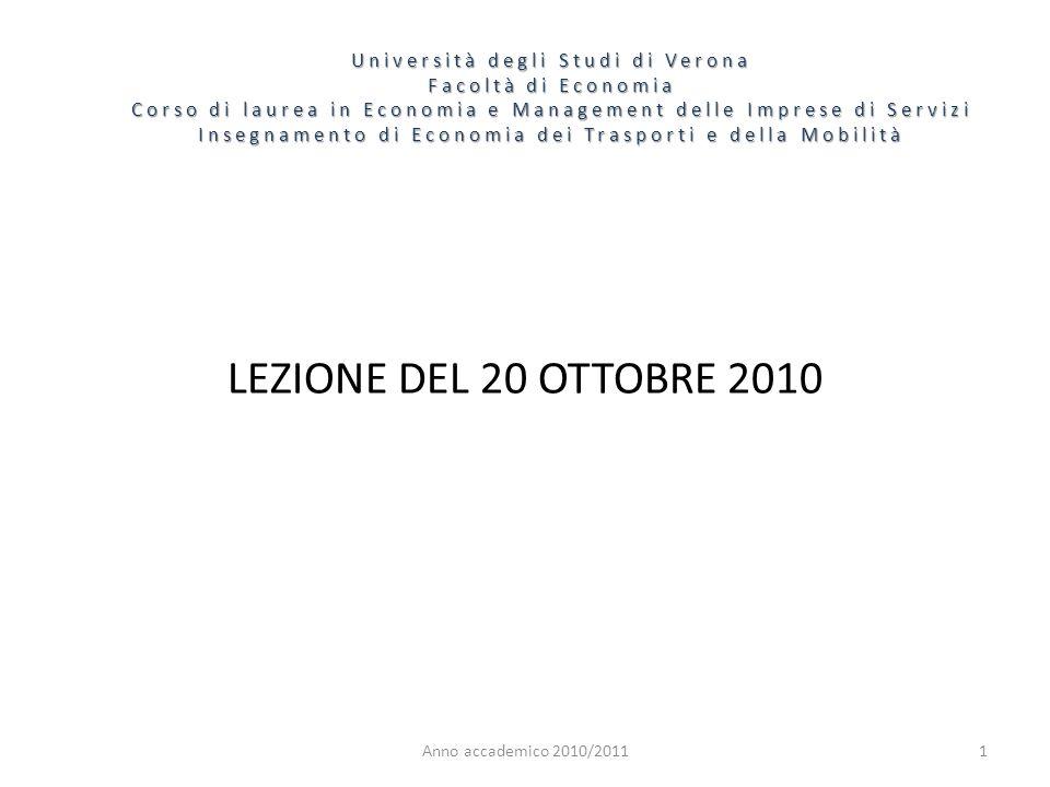 1 Università degli Studi di Verona Facoltà di Economia Corso di laurea in Economia e Management delle Imprese di Servizi Insegnamento di Economia dei Trasporti e della Mobilità Anno accademico 2010/2011 LEZIONE DEL 20 OTTOBRE 2010