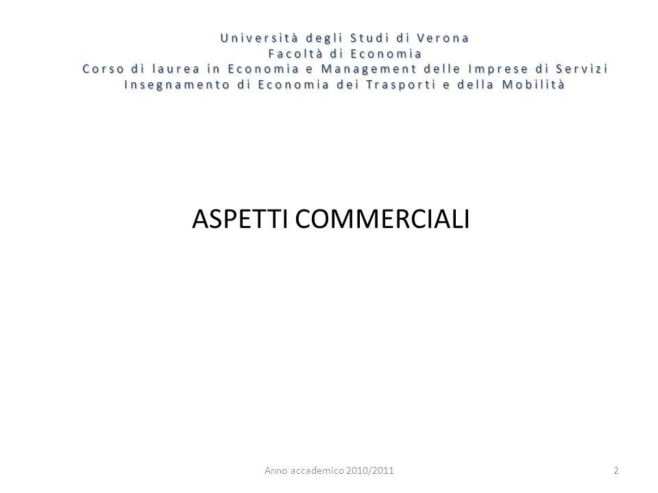 2 Università degli Studi di Verona Facoltà di Economia Corso di laurea in Economia e Management delle Imprese di Servizi Insegnamento di Economia dei Trasporti e della Mobilità Anno accademico 2010/2011 ASPETTI COMMERCIALI