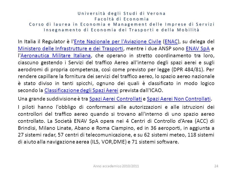 24 Università degli Studi di Verona Facoltà di Economia Corso di laurea in Economia e Management delle Imprese di Servizi Insegnamento di Economia dei Trasporti e della Mobilità Anno accademico 2010/2011 In Italia il Regulator è l Ente Nazionale per l Aviazione Civile (ENAC), su delega del Ministero delle Infrastrutture e dei Trasporti, mentre i due ANSP sono ENAV SpA e l Aeronautica Militare Italiana, che operano in stretto coordinamento tra loro, ciascuno gestendo i Servizi del traffico Aereo all interno degli spazi aerei e sugli aerodromi di propria competenza, così come previsto per legge (DPR 484/81).