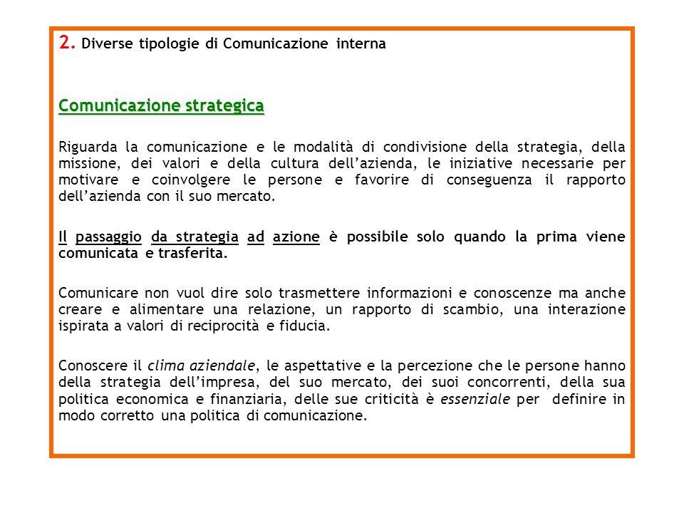 2. Diverse tipologie di Comunicazione interna Comunicazione strategica Riguarda la comunicazione e le modalità di condivisione della strategia, della