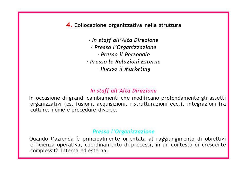 4. Collocazione organizzativa nella struttura · In staff allAlta Direzione · Presso lOrganizzazione · Presso il Personale · Presso le Relazioni Estern