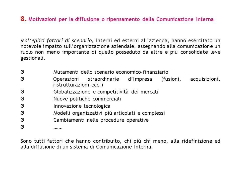 8. Motivazioni per la diffusione o ripensamento della Comunicazione Interna Molteplici fattori di scenario, interni ed esterni allazienda, hanno eserc