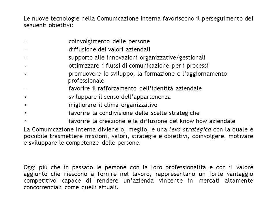 Le nuove tecnologie nella Comunicazione Interna favoriscono il perseguimento dei seguenti obiettivi: coinvolgimento delle persone diffusione dei valor