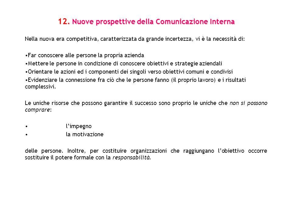 12. Nuove prospettive della Comunicazione Interna Nella nuova era competitiva, caratterizzata da grande incertezza, vi è la necessità di: Far conoscer