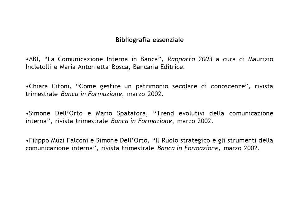 Bibliografia essenziale ABI, La Comunicazione Interna in Banca, Rapporto 2003 a cura di Maurizio Incletolli e Maria Antonietta Bosca, Bancaria Editric