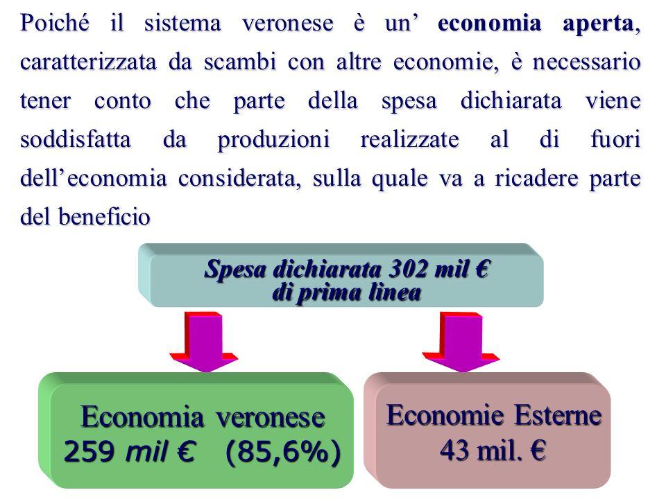 Spesa dichiarata 302 mil di prima linea Economie Esterne 43 mil.