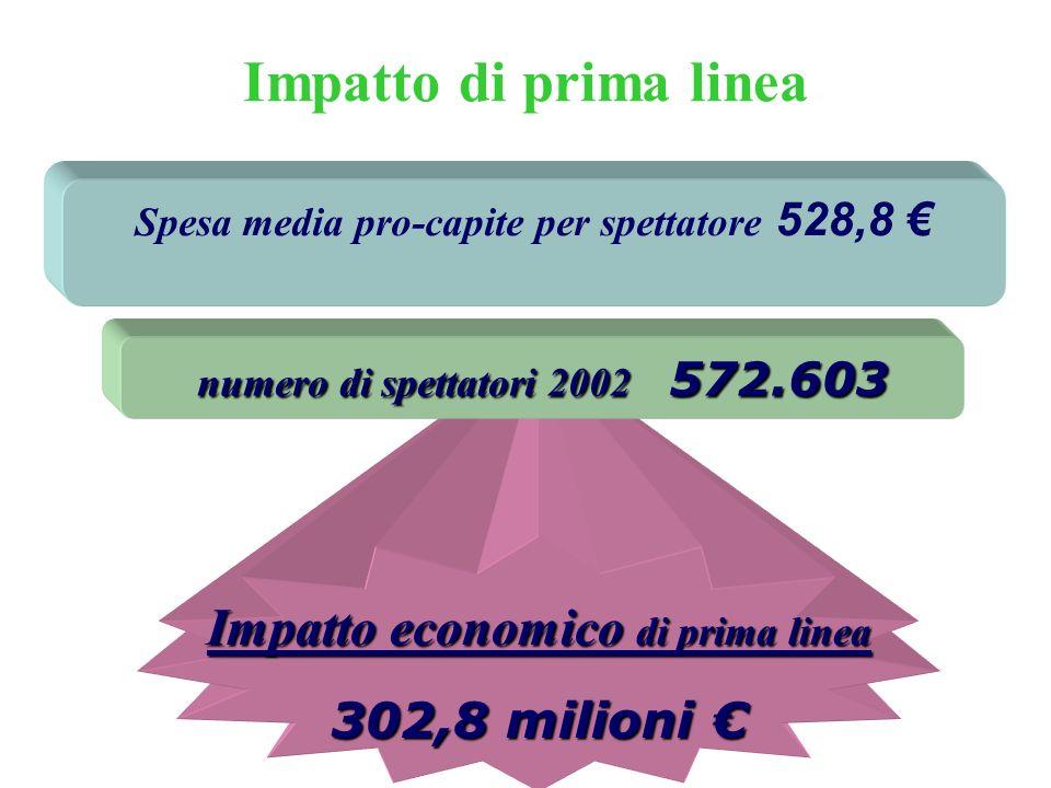 Impatto di prima linea Spesa media pro-capite per spettatore 528,8 Impatto economico di prima linea 302,8 milioni 302,8 milioni numero di spettatori 2002 572.603