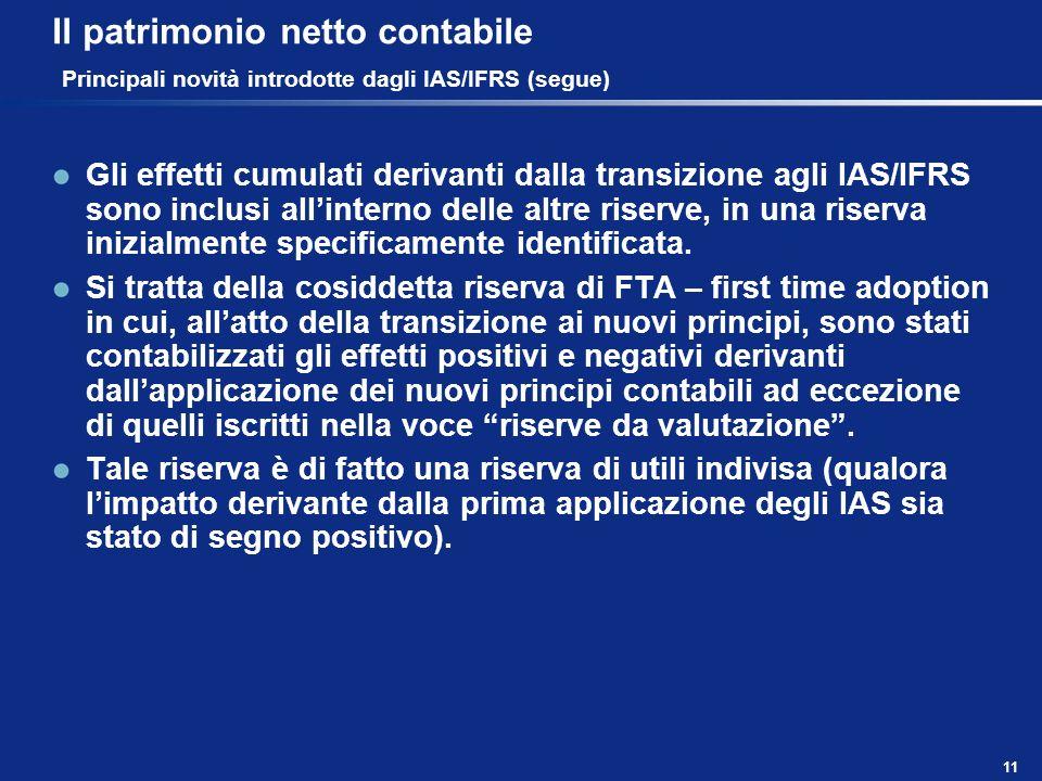 11 Il patrimonio netto contabile Principali novità introdotte dagli IAS/IFRS (segue) Gli effetti cumulati derivanti dalla transizione agli IAS/IFRS so
