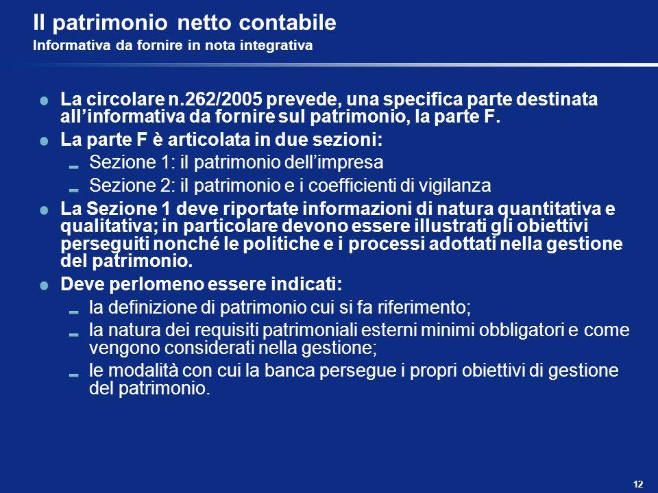 12 Il patrimonio netto contabile Informativa da fornire in nota integrativa La circolare n.262/2005 prevede, una specifica parte destinata allinformat