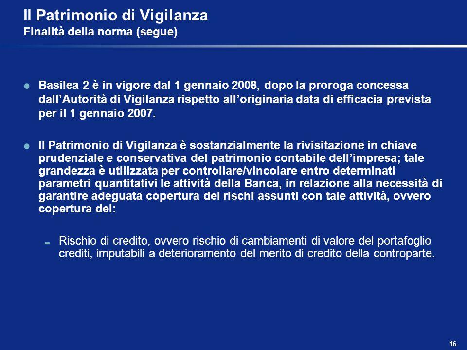16 Il Patrimonio di Vigilanza Finalità della norma (segue) Basilea 2 è in vigore dal 1 gennaio 2008, dopo la proroga concessa dallAutorità di Vigilanz