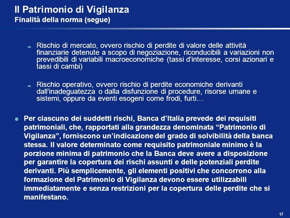 17 Il Patrimonio di Vigilanza Finalità della norma (segue) Rischio di mercato, ovvero rischio di perdite di valore delle attività finanziarie detenute