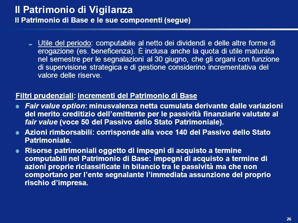 26 Il Patrimonio di Vigilanza Il Patrimonio di Base e le sue componenti (segue) Utile del periodo: computabile al netto dei dividendi e delle altre fo
