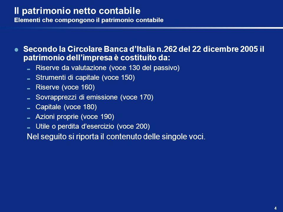 4 Il patrimonio netto contabile Elementi che compongono il patrimonio contabile Secondo la Circolare Banca dItalia n.262 del 22 dicembre 2005 il patri