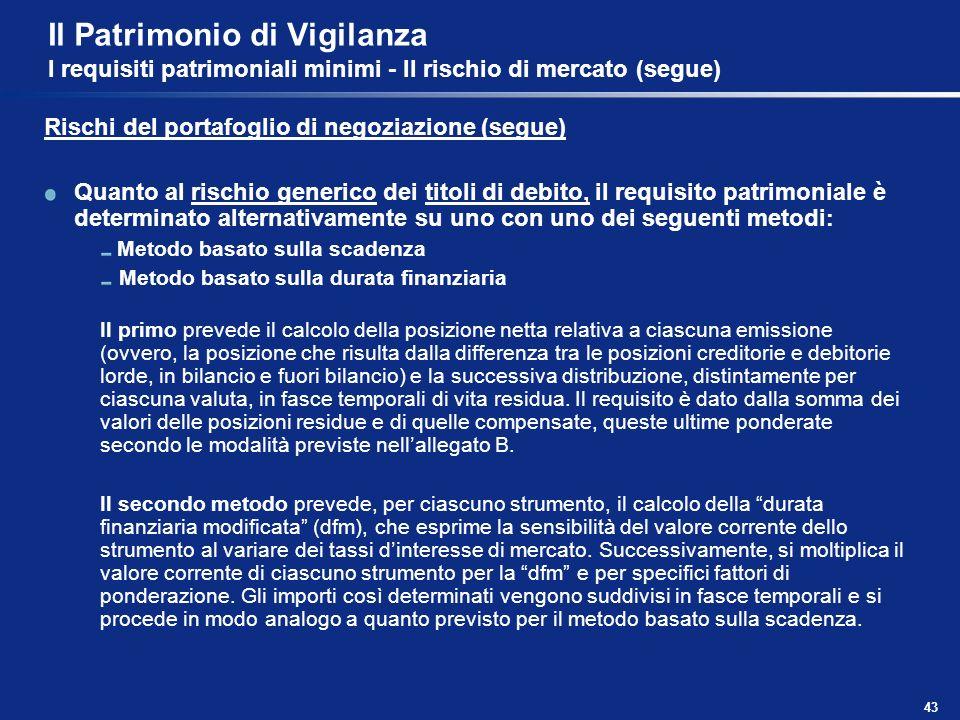 43 Il Patrimonio di Vigilanza I requisiti patrimoniali minimi - Il rischio di mercato (segue) Rischi del portafoglio di negoziazione (segue) Quanto al