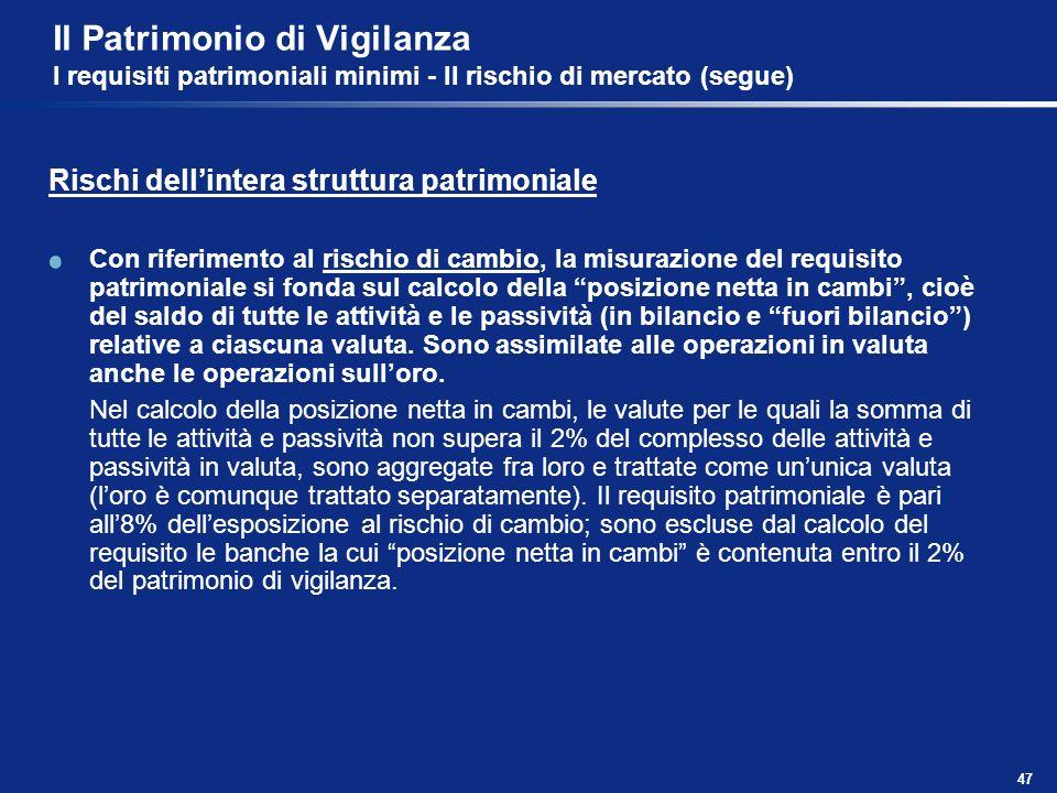 47 Il Patrimonio di Vigilanza I requisiti patrimoniali minimi - Il rischio di mercato (segue) Rischi dellintera struttura patrimoniale Con riferimento