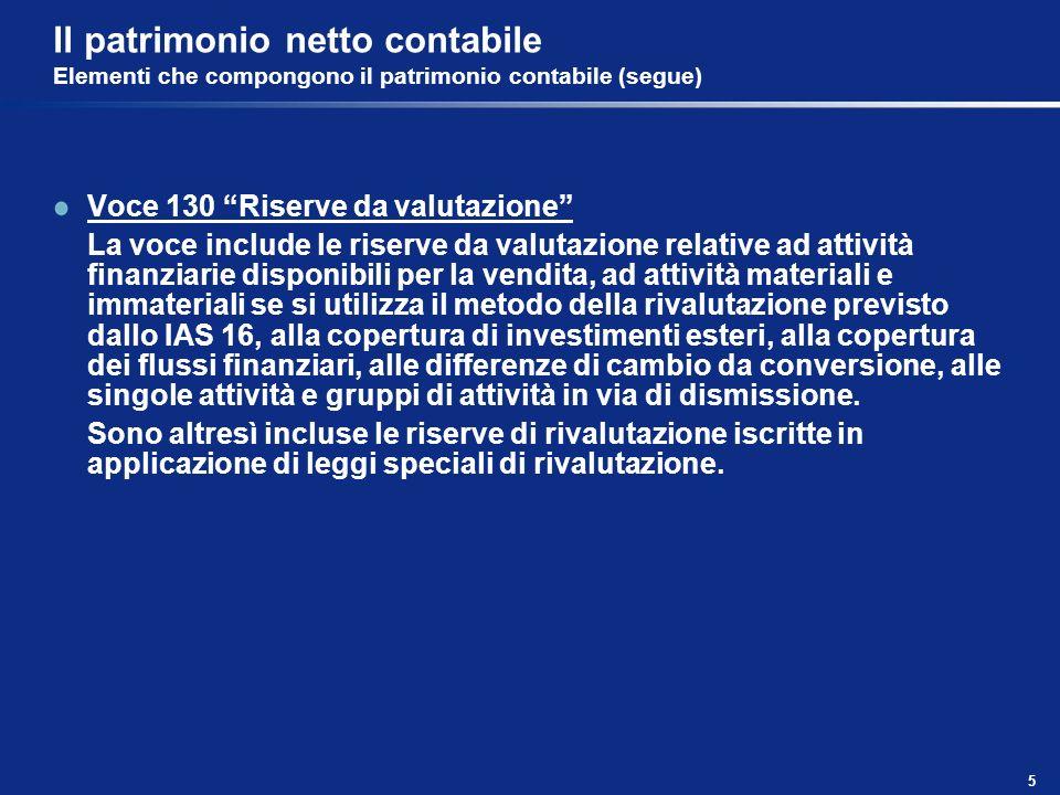5 Il patrimonio netto contabile Elementi che compongono il patrimonio contabile (segue) Voce 130 Riserve da valutazione La voce include le riserve da