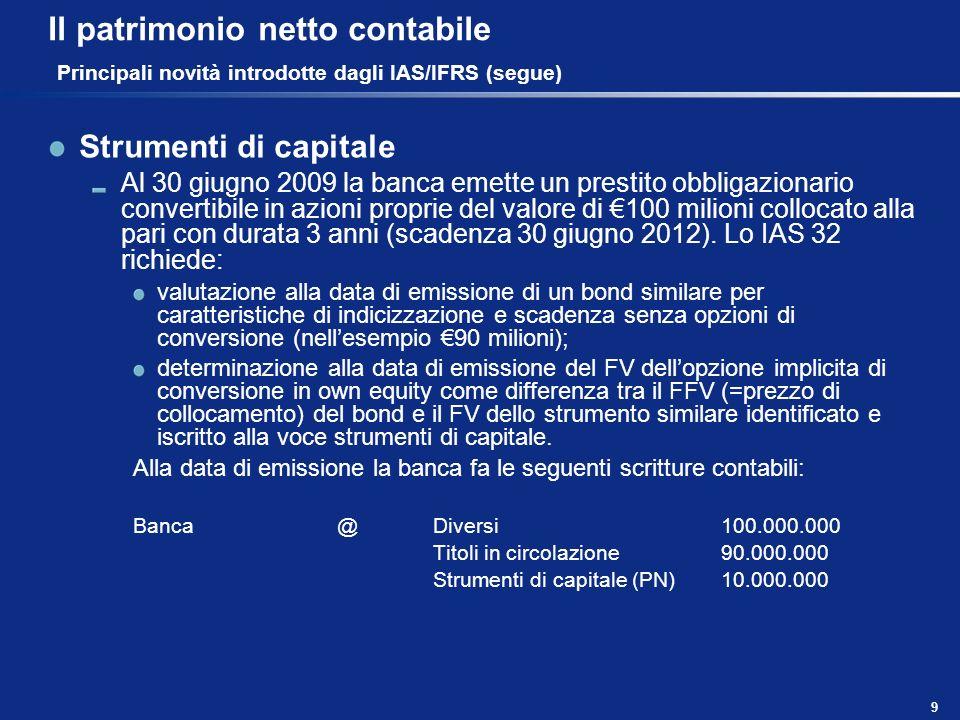 9 Il patrimonio netto contabile Principali novità introdotte dagli IAS/IFRS (segue) Strumenti di capitale Al 30 giugno 2009 la banca emette un prestit