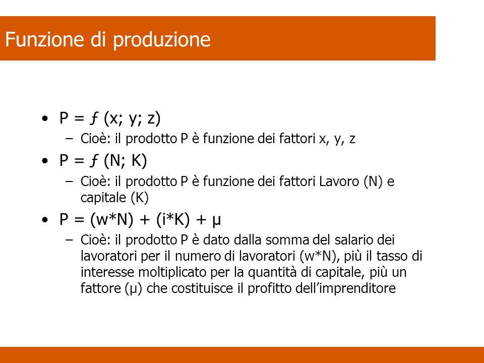 Funzione di produzione P = ƒ (x; y; z) –Cioè: il prodotto P è funzione dei fattori x, y, z P = ƒ (N; K) –Cioè: il prodotto P è funzione dei fattori La