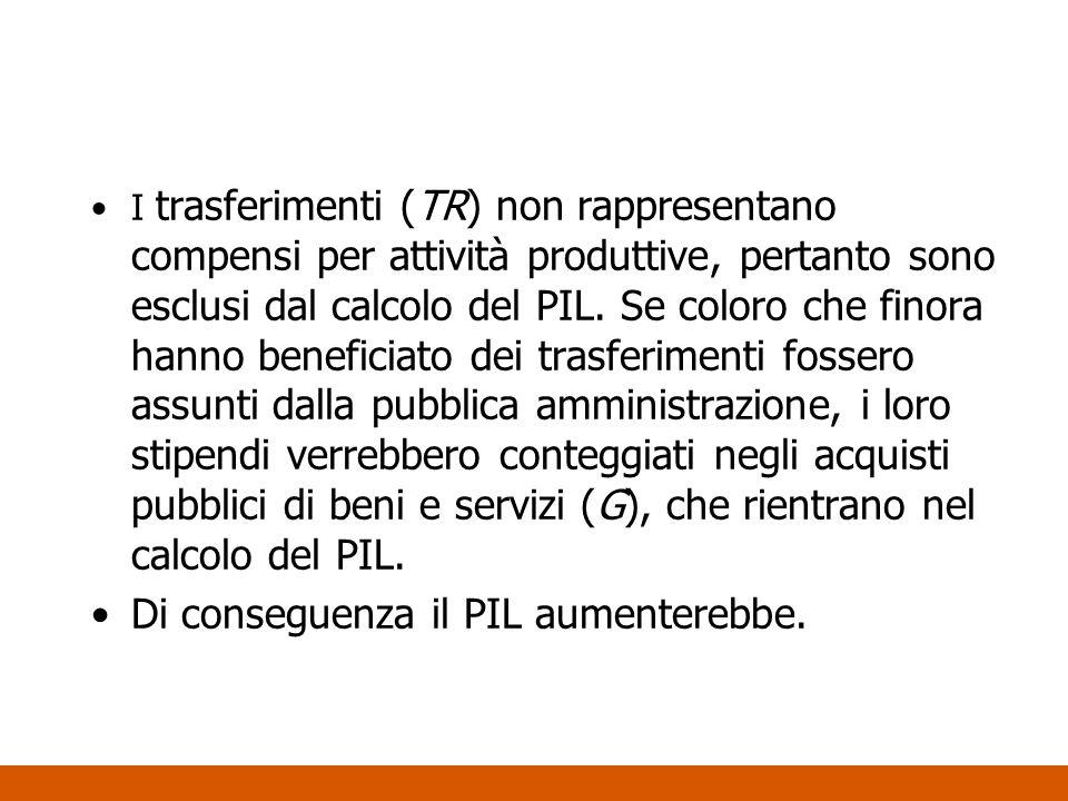 I trasferimenti (TR) non rappresentano compensi per attività produttive, pertanto sono esclusi dal calcolo del PIL. Se coloro che finora hanno benefic
