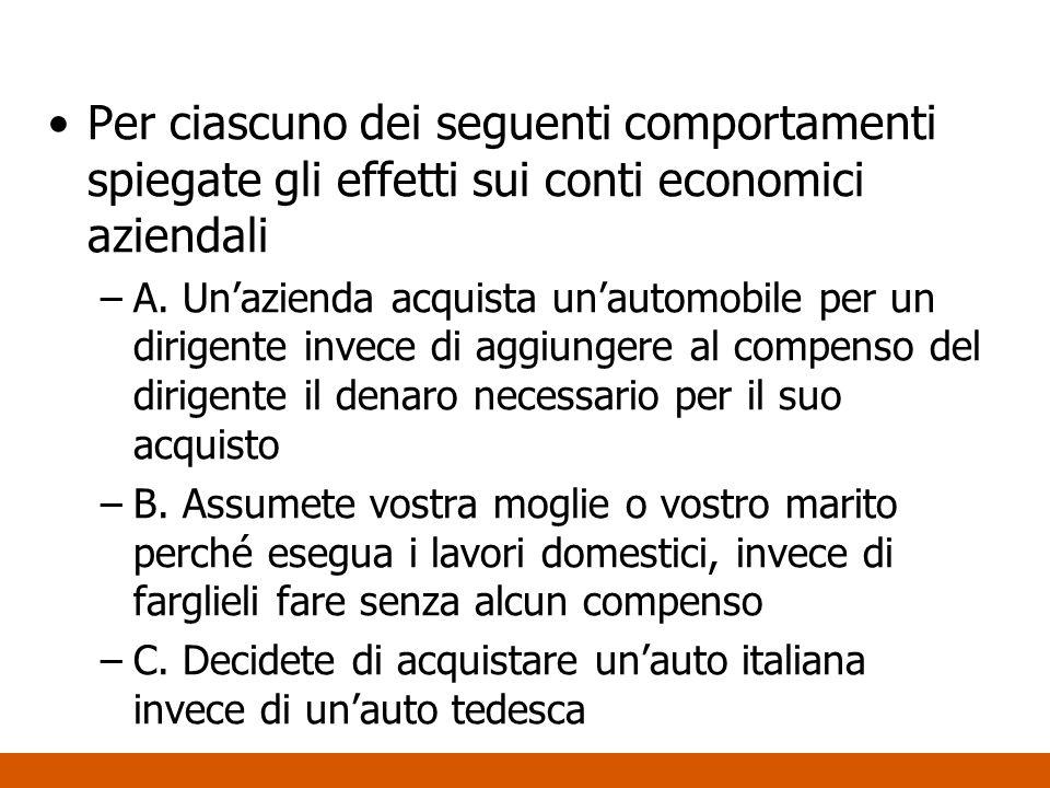 Per ciascuno dei seguenti comportamenti spiegate gli effetti sui conti economici aziendali –A. Unazienda acquista unautomobile per un dirigente invece