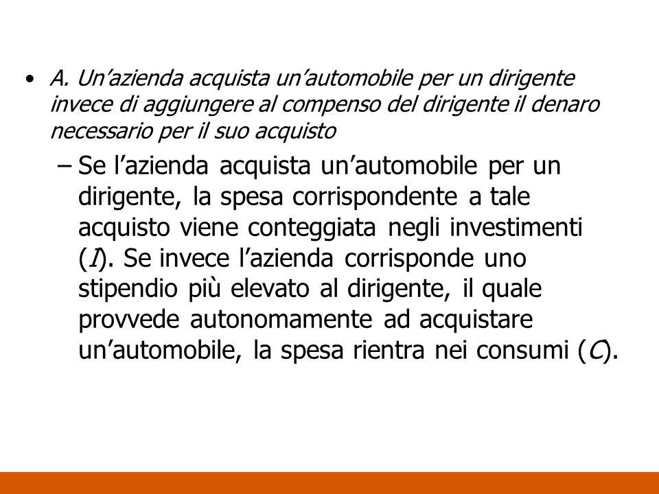 A. Unazienda acquista unautomobile per un dirigente invece di aggiungere al compenso del dirigente il denaro necessario per il suo acquisto –Se lazien
