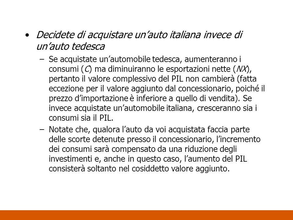 Decidete di acquistare unauto italiana invece di unauto tedesca –Se acquistate unautomobile tedesca, aumenteranno i consumi (C) ma diminuiranno le esp