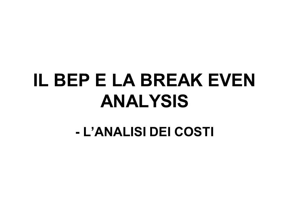 IL BEP E LA BREAK EVEN ANALYSIS - LANALISI DEI COSTI