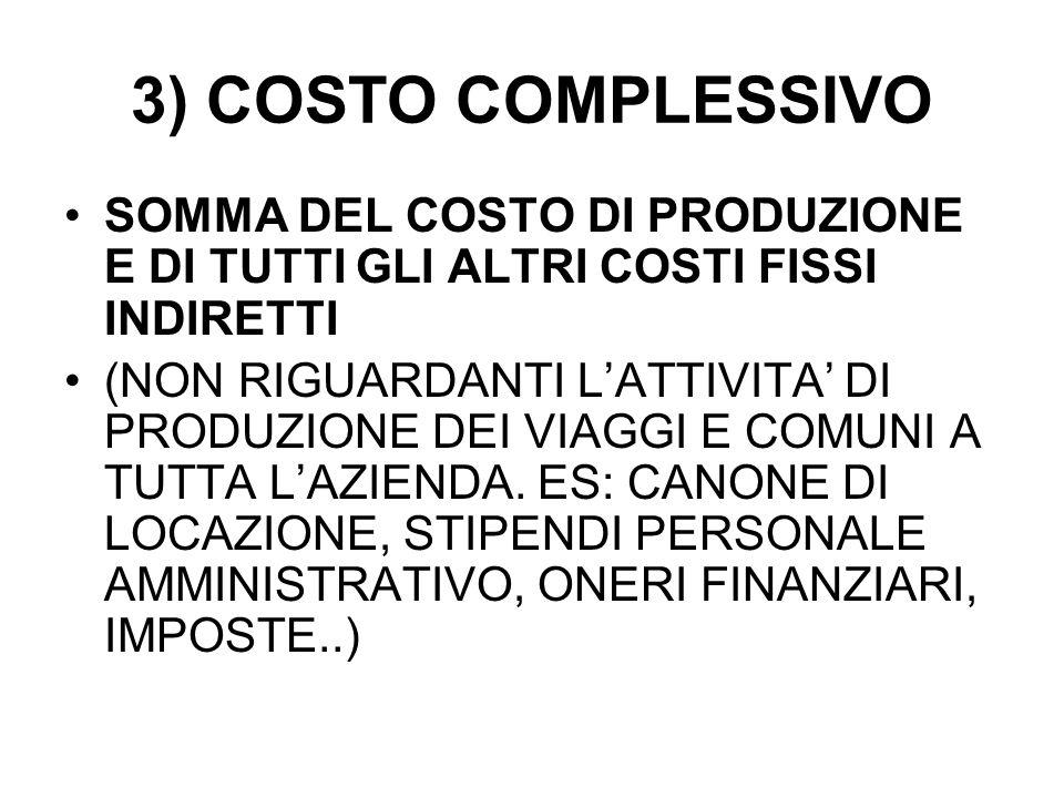 3) COSTO COMPLESSIVO SOMMA DEL COSTO DI PRODUZIONE E DI TUTTI GLI ALTRI COSTI FISSI INDIRETTI (NON RIGUARDANTI LATTIVITA DI PRODUZIONE DEI VIAGGI E COMUNI A TUTTA LAZIENDA.