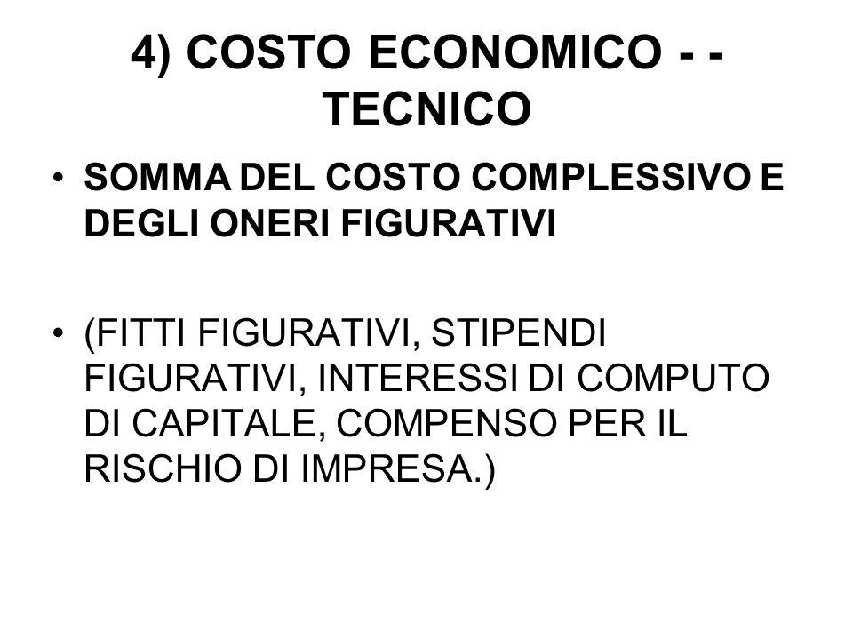 4) COSTO ECONOMICO - - TECNICO SOMMA DEL COSTO COMPLESSIVO E DEGLI ONERI FIGURATIVI (FITTI FIGURATIVI, STIPENDI FIGURATIVI, INTERESSI DI COMPUTO DI CAPITALE, COMPENSO PER IL RISCHIO DI IMPRESA.)