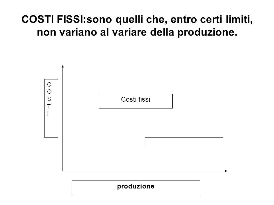 COSTI FISSI:sono quelli che, entro certi limiti, non variano al variare della produzione.