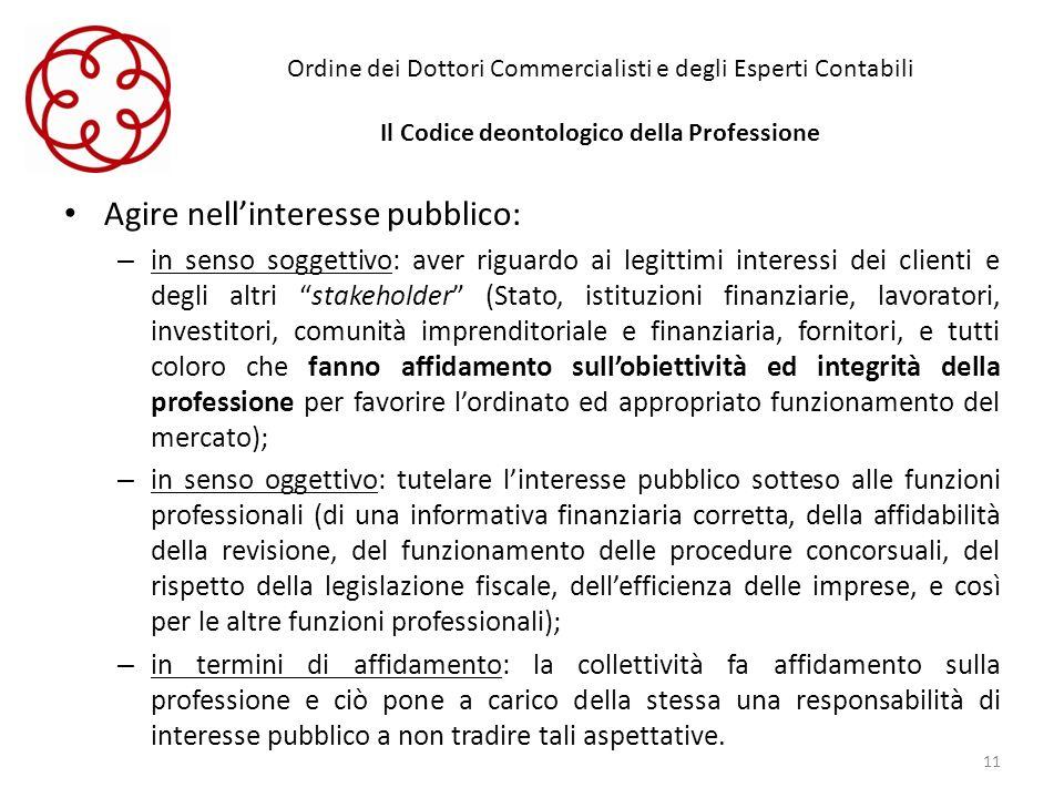 Ordine dei Dottori Commercialisti e degli Esperti Contabili Il Codice deontologico della Professione Agire nellinteresse pubblico: – in senso soggetti