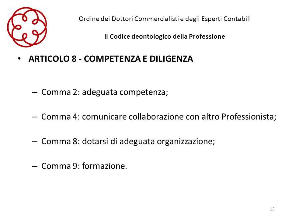 Ordine dei Dottori Commercialisti e degli Esperti Contabili Il Codice deontologico della Professione ARTICOLO 8 - COMPETENZA E DILIGENZA – Comma 2: ad