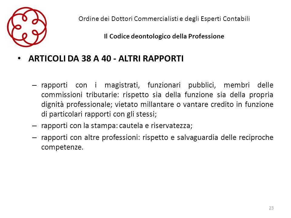 Ordine dei Dottori Commercialisti e degli Esperti Contabili Il Codice deontologico della Professione ARTICOLI DA 38 A 40 - ALTRI RAPPORTI – rapporti c
