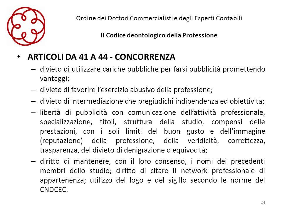 Ordine dei Dottori Commercialisti e degli Esperti Contabili Il Codice deontologico della Professione ARTICOLI DA 41 A 44 - CONCORRENZA – divieto di ut